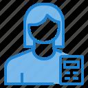 avatar, calculator, female, math, profile, user icon