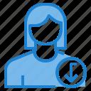 avatar, down, female, profile, user icon