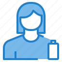 avatar, battery, empty, female, profile, user icon