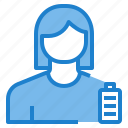 avatar, battery, female, full, profile, user icon