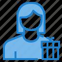 avatar, box, female, gift, profile, user icon