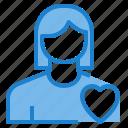 avatar, female, health, heart, profile, user icon