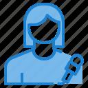 avatar, female, profile, reporter, user icon