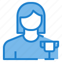 avatar, female, profile, trophy, user icon