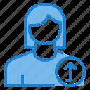 avatar, female, profile, up, user icon