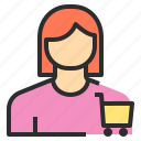 avatar, cart, female, profile, shopping, user icon