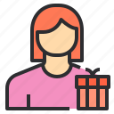 avatar, box, female, gift, profile, user icon