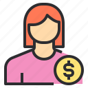 avatar, business, female, money, profile, user icon
