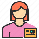 avatar, credit, female, payment, profile, user icon
