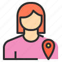 avatar, female, location, pointer, profile, user icon