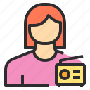 avatar, female, profile, radio, user icon