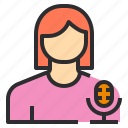 avatar, female, microphone, profile, record, user icon
