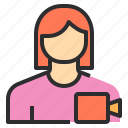 avatar, female, profile, recorder, user icon