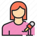 avatar, female, microphone, profile, reporter, user icon