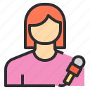 avatar, female, profile, reporter, user icon
