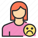 avatar, female, profile, sad, user icon