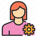 avatar, female, gear, profile, setting, user icon