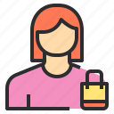 avatar, bag, female, profile, shopping, user icon