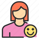 avatar, emotion, female, profile, smile, user icon