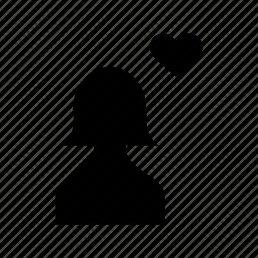 account, avatar, female, heart, love, profile, user icon