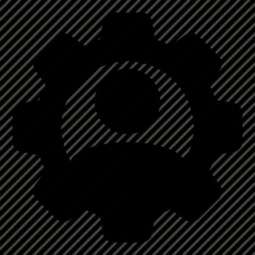 avatar, cog, configuration, gear, person, service, settings icon