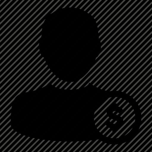 businessman, client, dollar, money, profile, user icon