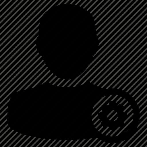 account, gear, human, people, profile, settings, user icon