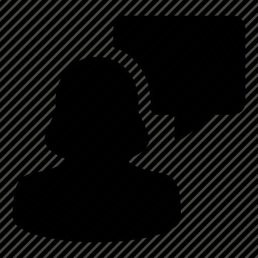 avatar, bubble, chat, speech, user, woman icon