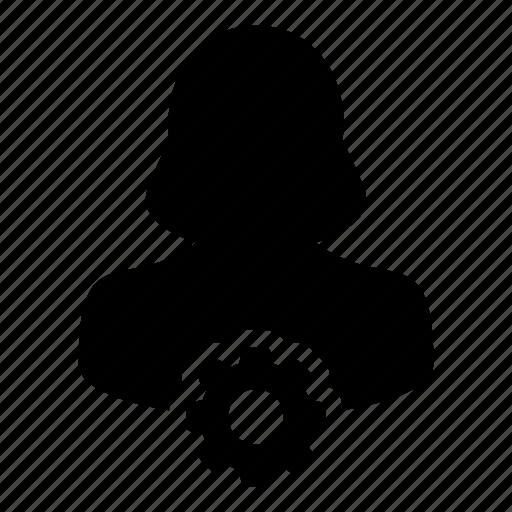 cog, gear, settings, user, woman icon