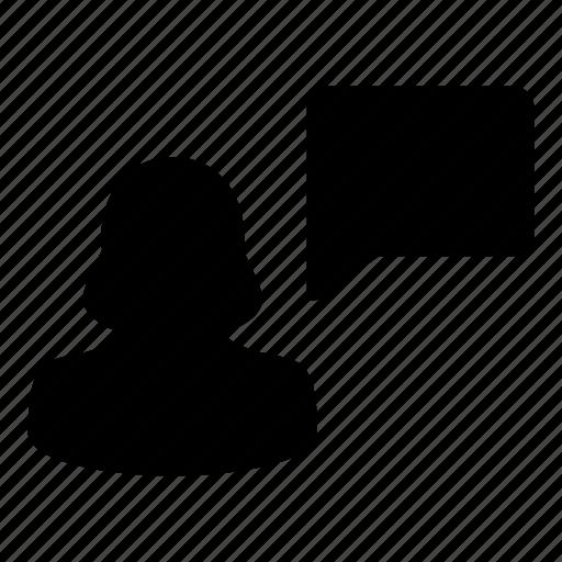 avatar, bubble, female, speech, user icon