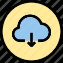 cloud, down, inteface, load, shape, ui icon