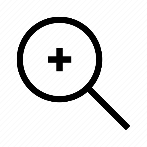find, investigate, loupe, magnifying glass, search, zoom in icon