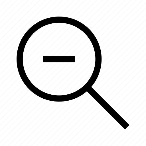 find, investigate, loupe, magnifying glass, search, zoom out icon
