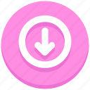arrow, circle, down, download, interface, user