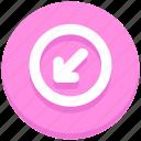 arrow, circle, down, forward, interface, left, user icon