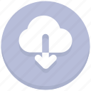 arrow, cloud, download, interface, user icon