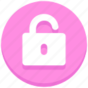 interface, open, padlock, unlock, user icon