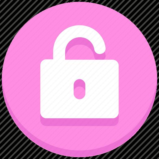 interface, open, padlock, unlock, user icon