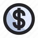 business, coin, dollar, finance, management, money, sign icon