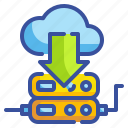 cloud, computing, databases, download, interface, server, storage icon
