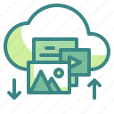clouds, computing, files, interface, multimedia, uploading icon