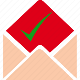 check, email, envelope, letter, mail, message, send icon