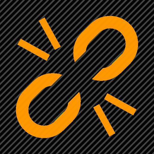 broken, chain, disconnect, link, url, web icon