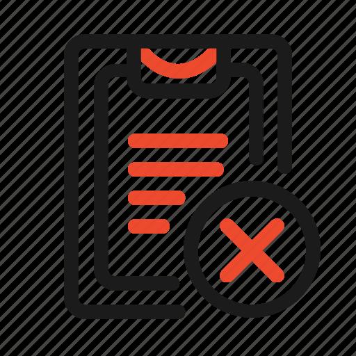 close, cross, delete, document, file, folder, list icon
