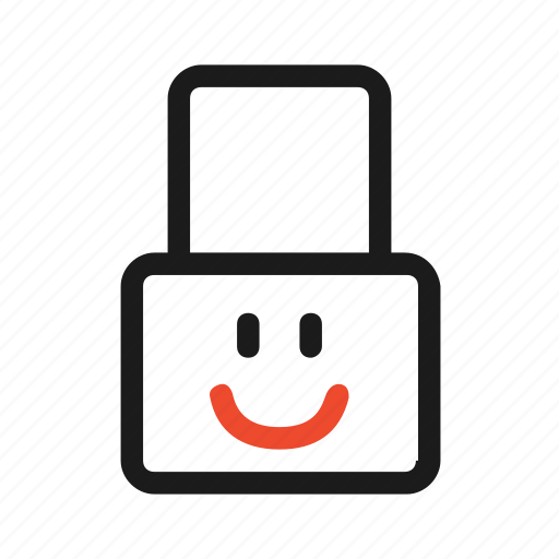 closed, face, guard, lock, security, smile icon