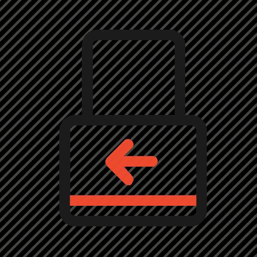 arrow, closed, key, left, lock, secure icon