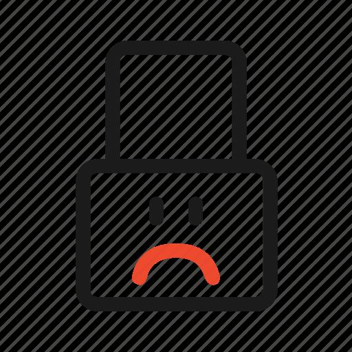 closed, face, lock, password, problem, sad icon