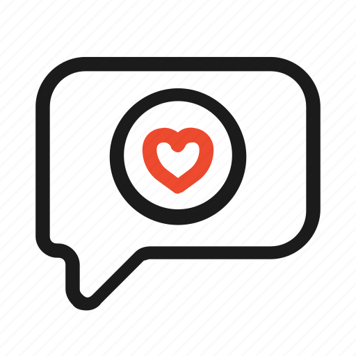 bubble, chat, heart, like, love, message, sms icon