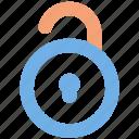 unlock, padlock, open, user interface