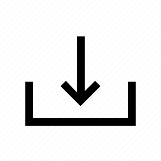 arrow, data, down, download, file, folder, line icon